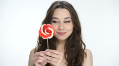 Woman share lollipop - stock footage