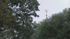 Cross othe top of the Christ,The Savior dome in Moscow, seen above the trees Stock Footage