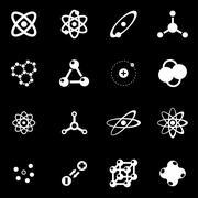 Vector white atom icon set - stock illustration