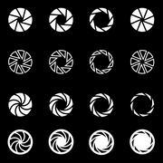 Vector white camera shutter icon set Stock Illustration
