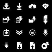 Vector white download  icon set Stock Illustration