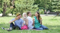 Young People at Picnic on a Lawn Eating Drinking Sitting on a Green Grass in Stock Footage