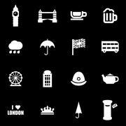 Vector white london icon set - stock illustration