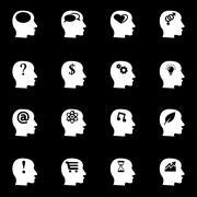Vector white thoughts icon set Stock Illustration