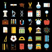 Big Flat Back to School Objects Set over Black Background - stock illustration