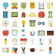 Big Flat Back to School Objects Set isolated over white - stock illustration