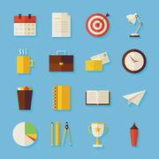Flat Business and Office Objects Set with Shadow - stock illustration
