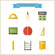 Flat School Maths and Physics Objects Set Stock Illustration