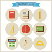 Flat School Maths and Physics Icons Set Stock Illustration