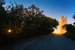 Gorliz lighthouse at sunset Stock Photos