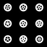 Vector white wheel icon set Stock Illustration