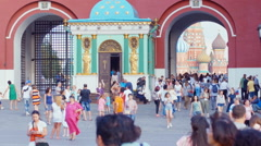 People entering the Red Square through the arch Stock Footage