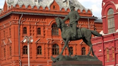 Monument to Marshal Zhukov in Moscow. 4K. Stock Footage