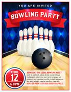 Bowling Party Flyer Template Illustration Piirros
