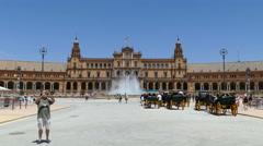 Plaza De Espana, Seville, horsecars at square Stock Footage