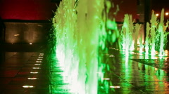 Beautiful colorful fountain at night Stock Footage