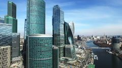 Moscow City aerial shooting cityscapes Stock Footage