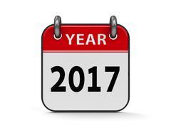 Icon calendar 2017 year - stock illustration