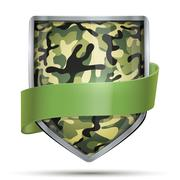 Shield with flag Camouflage - stock illustration