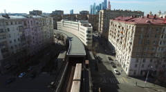 Aerial Subway Goes to Tunnel Moscow city Bridge Stock Footage