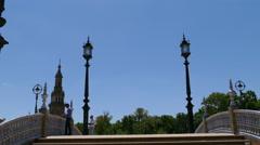 Plaza De Espana, Seville, bridge over romantic pond Stock Footage