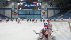 Players play ice hockey in Balashikha Arena. Stock Footage