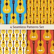 Four Vector Flat Seamless String Music Instrument Guitar Patterns Set Stock Illustration