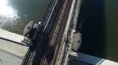 Aerial Transit River Bridge Moscow Subway Stock Footage