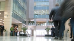People walk in the lobby of business center Preo-8 (Preobrazhensky) Stock Footage