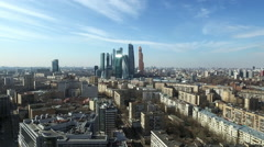 Aerial Moscow City shooting cityscape Stock Footage