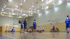 Two teams training before the game in Universal Sport Hall. Stock Footage