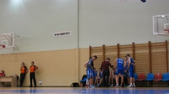 Timeout in basketball game in CSKA Universal Sport Hall Stock Footage