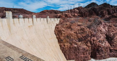 Hoover Dam Panning Right Time Lapse Stock Footage
