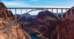 Hoover Dam Memorial Bridge Panning Time Lapse Stock Footage