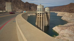 Colorado River Elevation Lower at Hoover Dam Stock Footage