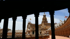Plaza De Espana, Seville, looking ahead to the palace Stock Footage