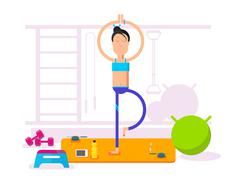 Girl doing yoga Stock Illustration