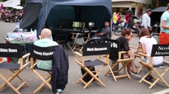 Chairs and monitors under the canopy on a film set during the filming Stock Footage