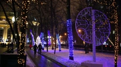 Chistoprudniy boulevard decorated with for the New Year Stock Footage