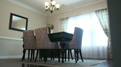Dining Room Low Angle Move Left Reveal - stock footage