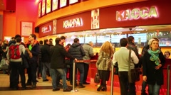 People stand in line at the cashier in a cinema Luxor. Stock Footage