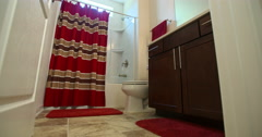 Modern Guest Bathroom Move Left Reveal Stock Footage
