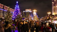 A crowd of people on Tverskaya Square during the New Year holiday Stock Footage