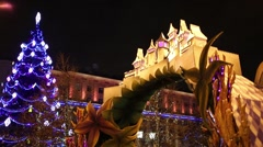 Arch with a castle and tree on Tverskaya Square during New Year holidays Stock Footage