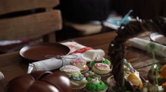 Easter table setting. Cakes. Pancake. Easter. Beautiful table. Easter egg. Sweet - stock footage
