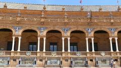 Plaza De Espana, Seville, gallery arches Stock Footage