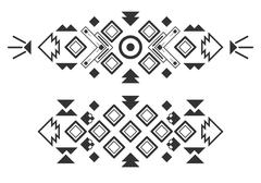 Vector tribal elements, ethnic collection, aztec stile isolated on white - stock illustration