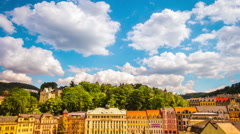 Downtown of small beautiful european town Karlovy Vary (Carlsbad) timelapse Stock Footage