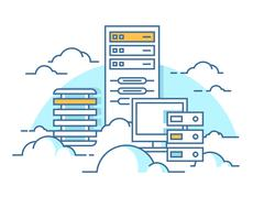 Cloud service database Stock Illustration