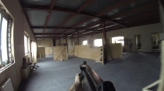 Lasertag game in hall with plywood fence in Moscow, Russia Stock Footage